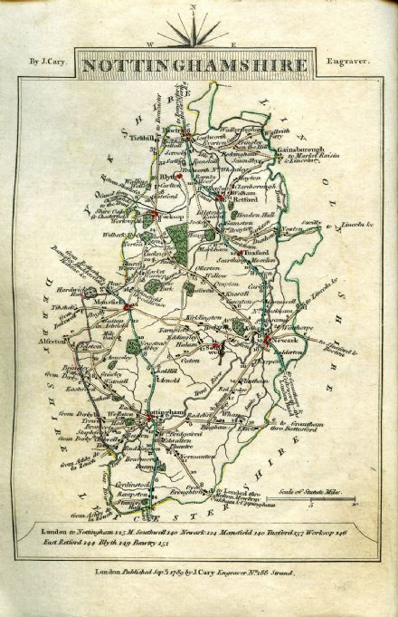 Nottinghamshire County Map by John Cary 1790 - Reproduction